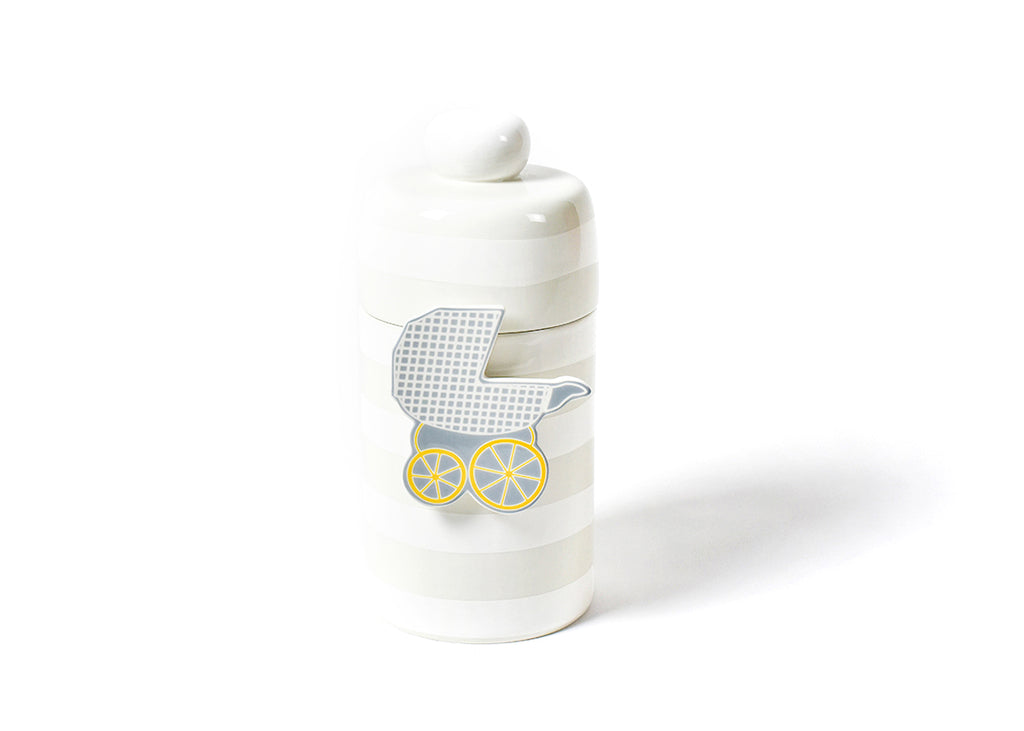 Happy Everything White Stripe Mini Canister
