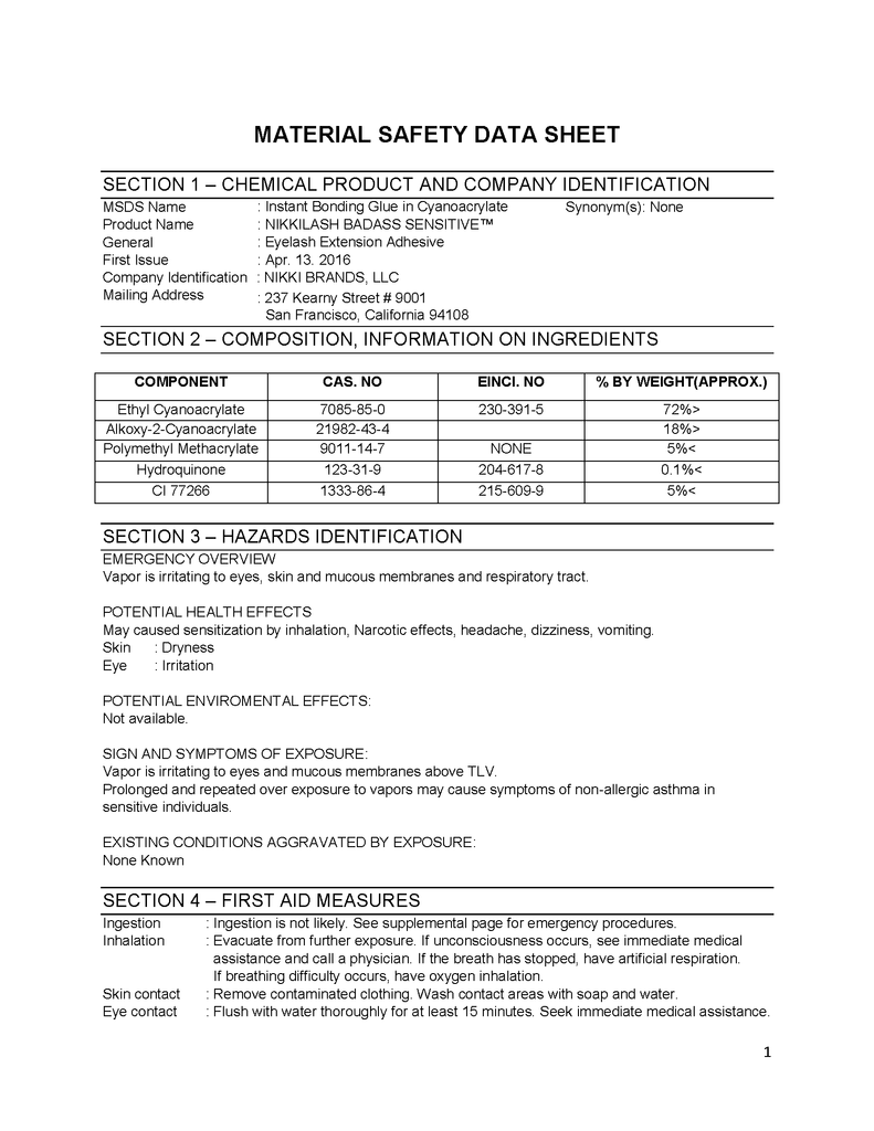 MSDS - Safety Data Sheets For NIKKILASH BADASS SENSITIVE