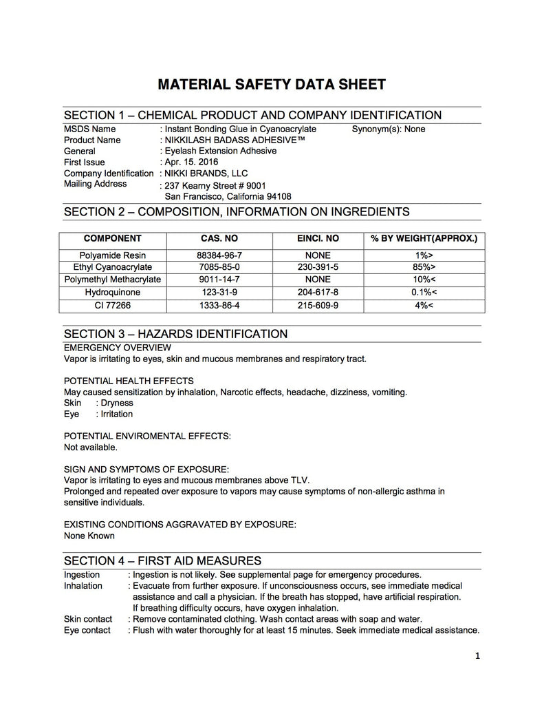 MSDS - Safety Data Sheets For NIKKILASH BADASS ONE