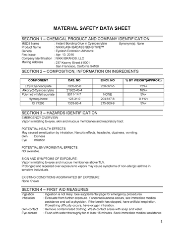 MSDS for NIKKILASH SENSITIVE GLUE