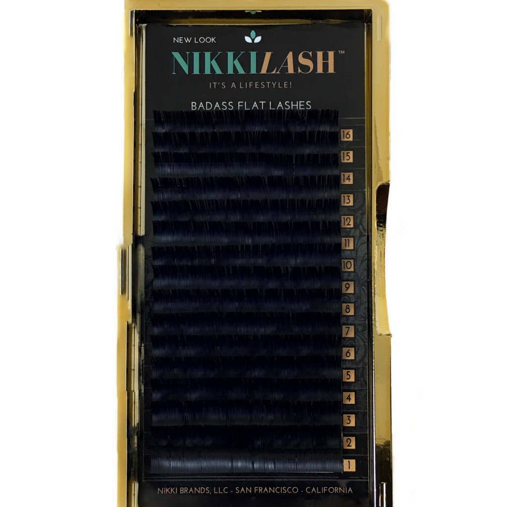 NIKKILASH BADASS FLAT LASHES | D-CURL FLAT LASHES with 16-Rows Rich True Black