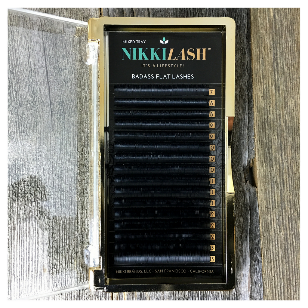 NIKKILASH BADASS MIXED TRAY C-CURL FLAT LASHES 7-13MM | FLAT LASHES with 16-Rows Rich True Black
