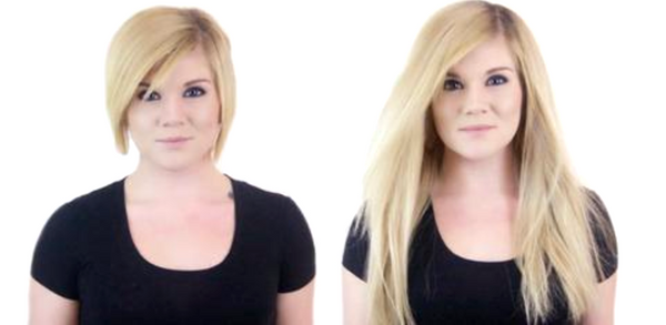 Before and After Hair Extensions for Short Hair