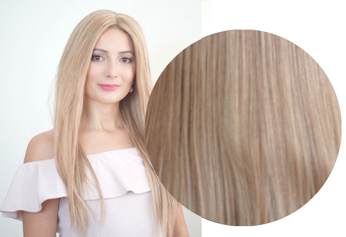 Champagne blonde hair extensions tressmerize double drawn clip in hair extensions that are thick from top to bottom pmusecretfo Images