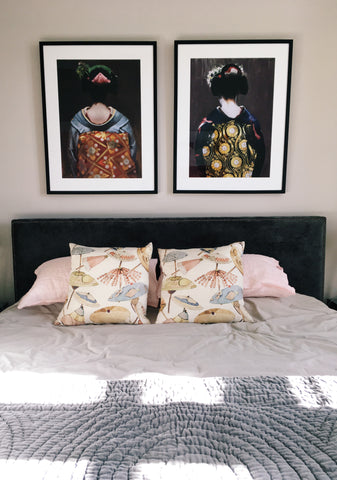 Geisha Prints over bed styled by Evie Kemp