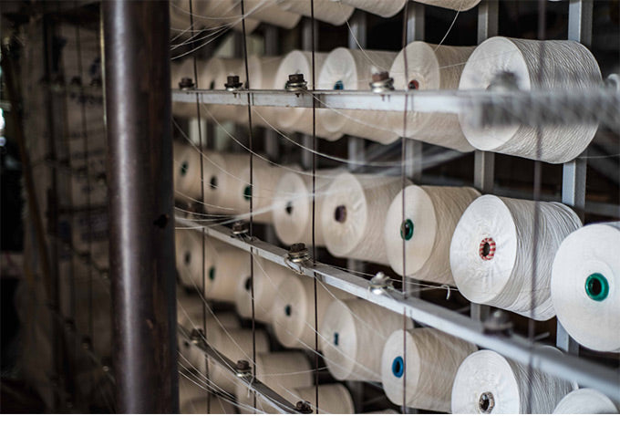 Rows of cotton reels for the turkish hand-looms