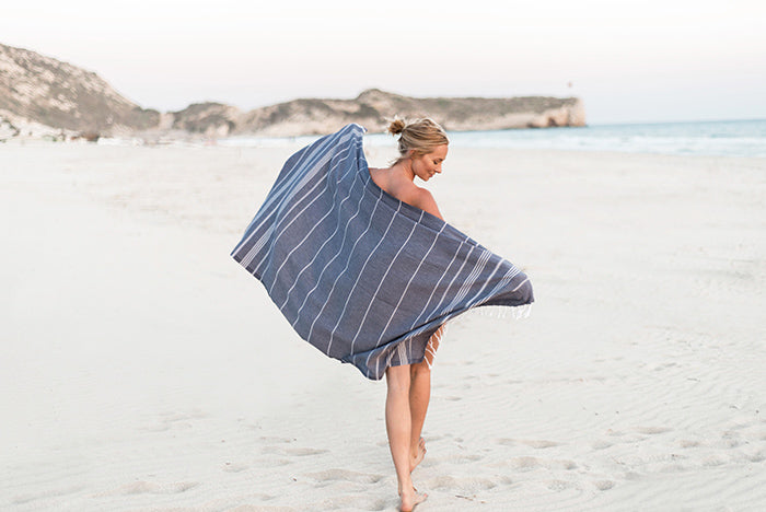 Navy Blue Turkish Towel Beach