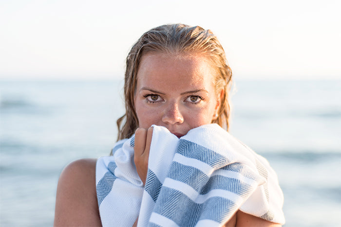 Cooling off in the sea with our turkish towels