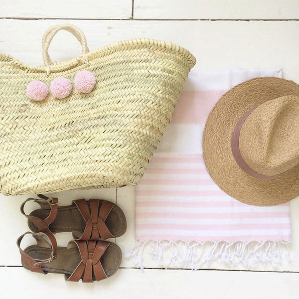 Blush Pink Turkish towel holiday flatlay