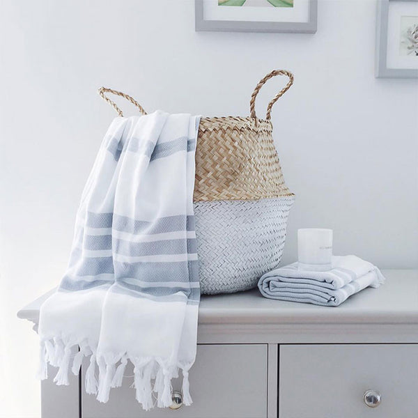 White and grey Turkish Towel with basket