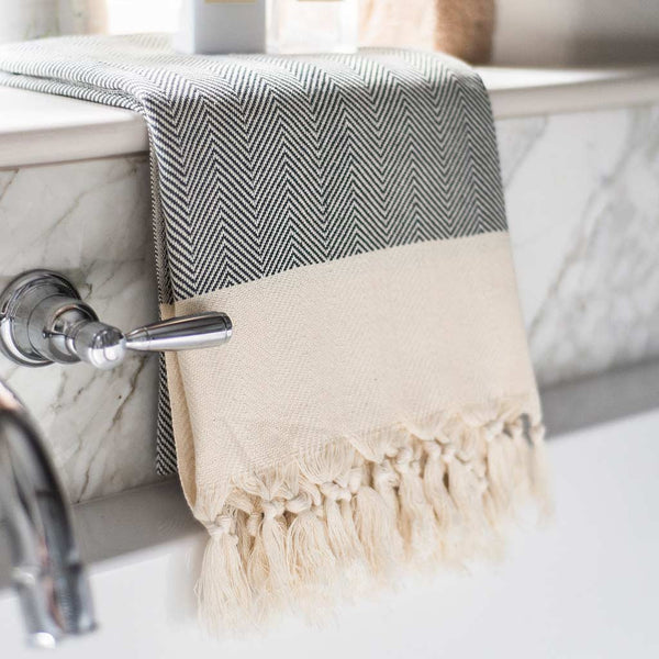 Herringbone Turkish Towel in Fossil Grey