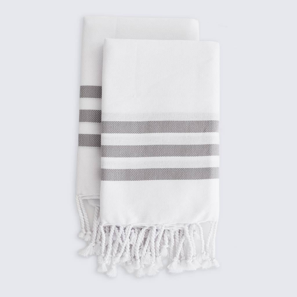 White Light Grey Stripe Turkish Hand Kitchen Towels Hammam Home