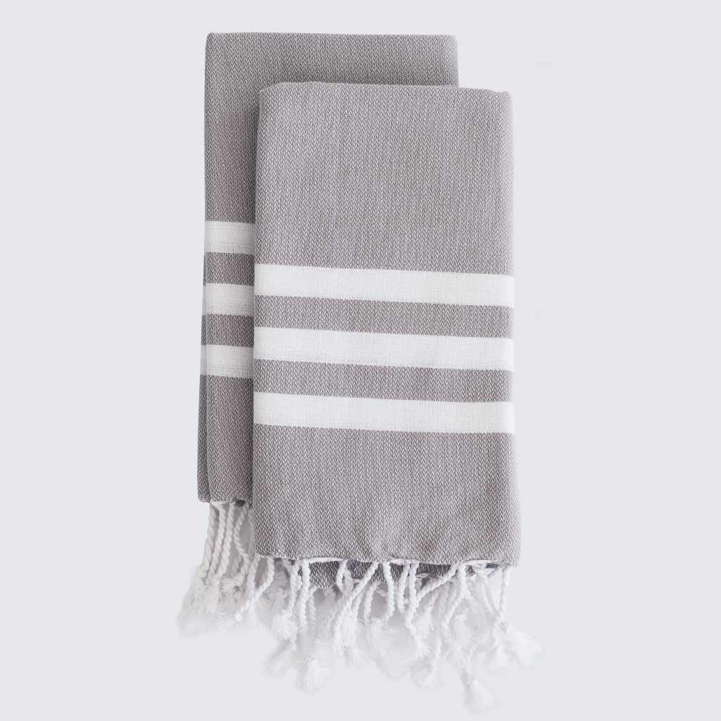 Set Of Two Light Grey Stripe Turkish Hand Towels Hammam Home