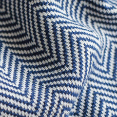 Herringbone Turkish Towel in Midnight Blue Detail