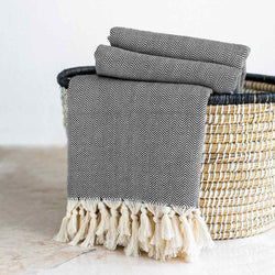 Herringbone Throw | Charcoal