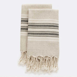 Set Of Maya Linen Hand Towels | Charcoal