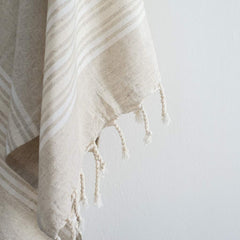Set Of Maya Linen Hand Towels | Ivory