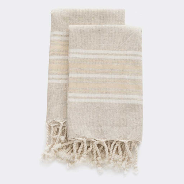 Set Of Maya Linen Hand Towels | Sand