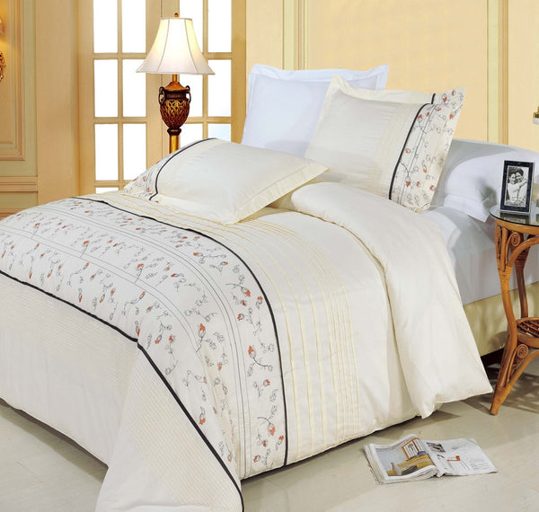 Anna Egyptian Cotton Embroidered Duvet Cover Set (Full/Queen Size) | My Bed Covers