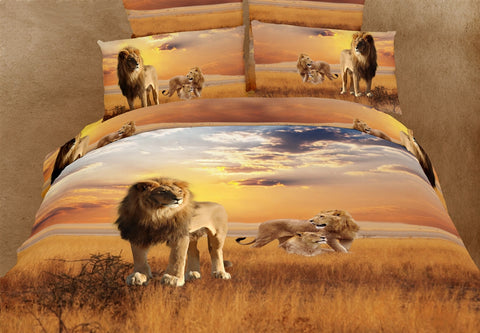 African Lions 6PC Duvet Cover Set (Full/Queen Size) - My Bed Covers
