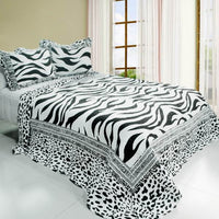 Animal Pattern Cotton 3PC Vermicelli-Quilted Striped Printed Quilt Set (Full/Queen Size) - My Bed Covers - 1