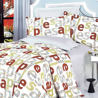 Apple Letter 100% Cotton 4PC Duvet Cover Set (Queen Size) | My Bed Covers