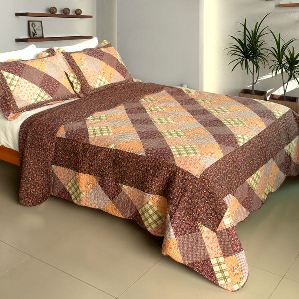 Artistic Chic Cotton 3PC Vermicelli-Quilted Printed Quilt Set (Full/Queen Size) | My Bed Covers