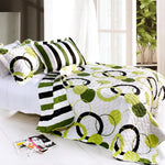 Artistic Green Cotton 3PC Vermicelli-Quilted Circle Printed Quilt Set (Full/Queen Size) | My Bed Covers