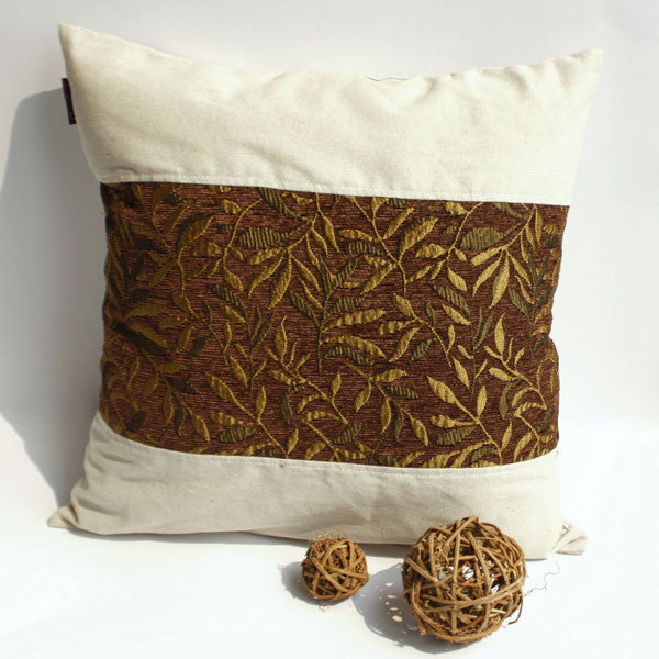 Autumn Leaves Linen Patch Work Pillow Cushion | My Bed Covers