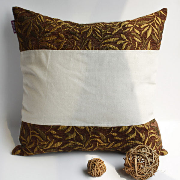 Autumn Trip Linen Stylish Patch Work Pillow Cushion | My Bed Covers