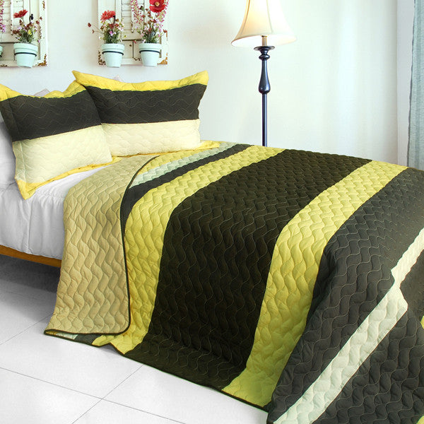 Bathe In Sunshine 3PC Patchwork Quilt Set (Full/Queen Size) | My Bed Covers