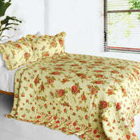 Beauty Of Light 3PC Cotton Vermicelli-Quilted Printed Quilt Set (Full/Queen Size) | My Bed Covers