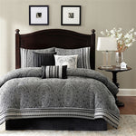California 7-Piece Black White Luxury Damask Comforter Set (King Size) | My Bed Covers