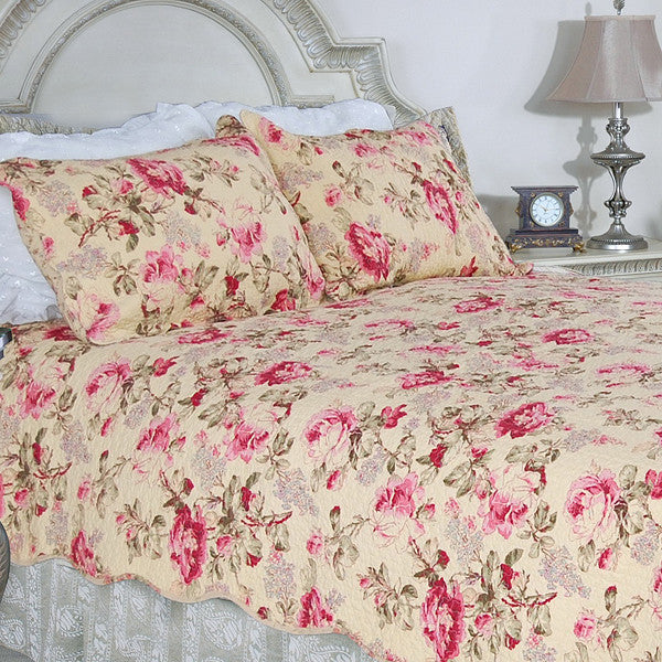 Blooming Peony 100% Cotton 3PC Classic Floral Vermicelli-Quilted Quilt Set (King Size) - My Bed Covers - 1