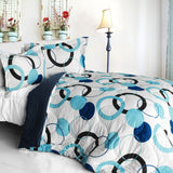 Blue Bubble Quilted Patchwork Down Alternative Comforter Set (King Size) - My Bed Covers