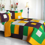Checkers 3PC Vermicelli-Quilted Patchwork Quilt Set (Full/Queen Size) - My Bed Covers - 1