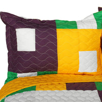 Checkers 3PC Vermicelli-Quilted Patchwork Quilt Set (Full/Queen Size) - My Bed Covers - 2