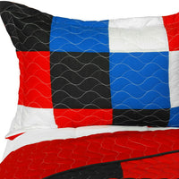 Chess 3PC Vermicelli-Quilted Patchwork Quilt Set (Full/Queen Size) | My Bed Covers