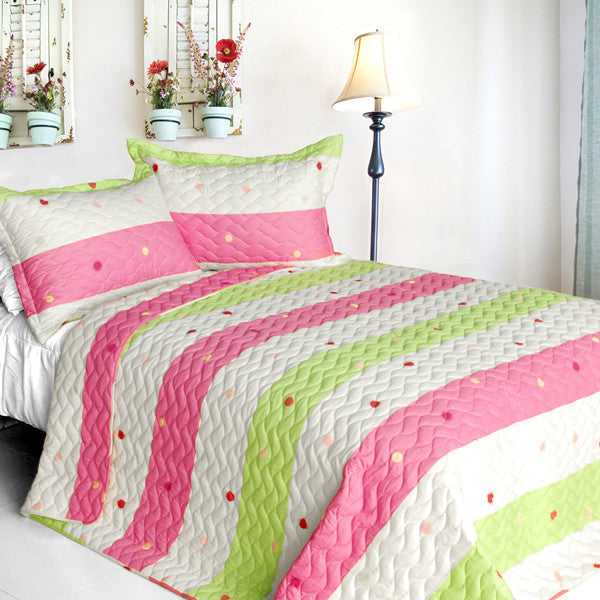 Colorful Life Cotton 3PC Vermicelli-Quilted Patchwork Quilt Set (King Size) | My Bed Covers