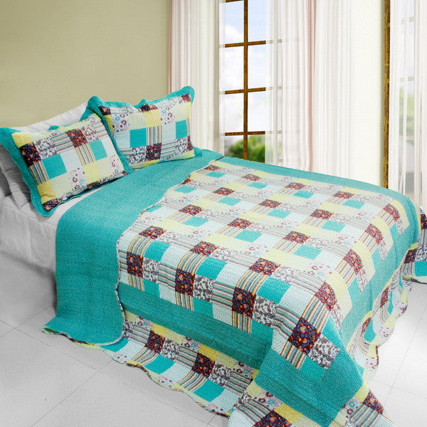 Cool Spring 3PC Cotton Vermicelli-Quilted Printed Quilt Set (Full/Queen Size) - My Bed Covers - 1