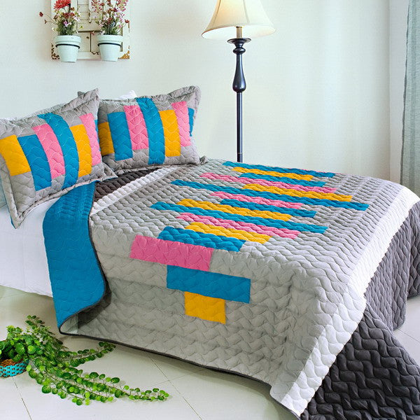 Creative Life 3PC Vermicelli-Quilted Patchwork Quilt Set (Full/Queen Size) | My Bed Covers