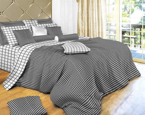 Black and White Check 6PC Duvet Cover Set (Full/Queen Size) - My Bed Covers