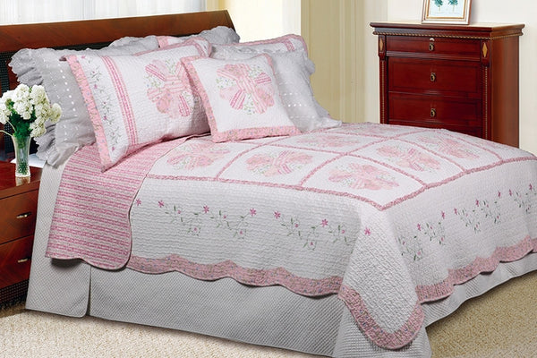Daisy Field 100% Cotton 2PC Floral Vermicelli-Quilted Embroidered Patchwork Quilt Set (Twin Size) - My Bed Covers - 1