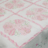 Daisy Field 100% Cotton 2PC Floral Vermicelli-Quilted Embroidered Patchwork Quilt Set (Twin Size) - My Bed Covers - 3
