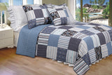 Daniel 100% Cotton 3PC Vermicelli-Quilted Striped Patchwork Quilt Set (King Size) - My Bed Covers - 1