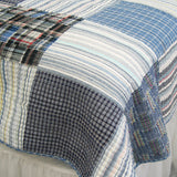 Daniel 100% Cotton 3PC Vermicelli-Quilted Striped Patchwork Quilt Set (King Size) - My Bed Covers - 2