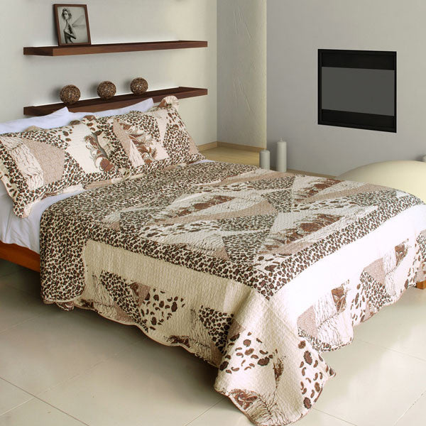 Delicate Leopard Cotton 3PC Vermicelli-Quilted Printed Quilt Set (Full/Queen Size) | My Bed Covers