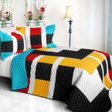 Designer - 1 Brand New Vermicelli-Quilted Patchwork Quilt Set (Full/Queen Size) - My Bed Covers - 1