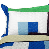 Dizzy Sun Vermicelli-Quilted Patchwork Geometric Quilt Set (Full/Queen Size) - My Bed Covers - 2