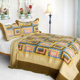 Dream High 3PC Cotton Vermicelli-Quilted Printed Quilt Set (Full/Queen Size) | My Bed Covers
